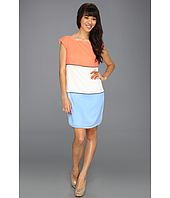 Jessica Simpson - Cap Sleeve Color Block Dress w/ Piping and Exposed Zipper