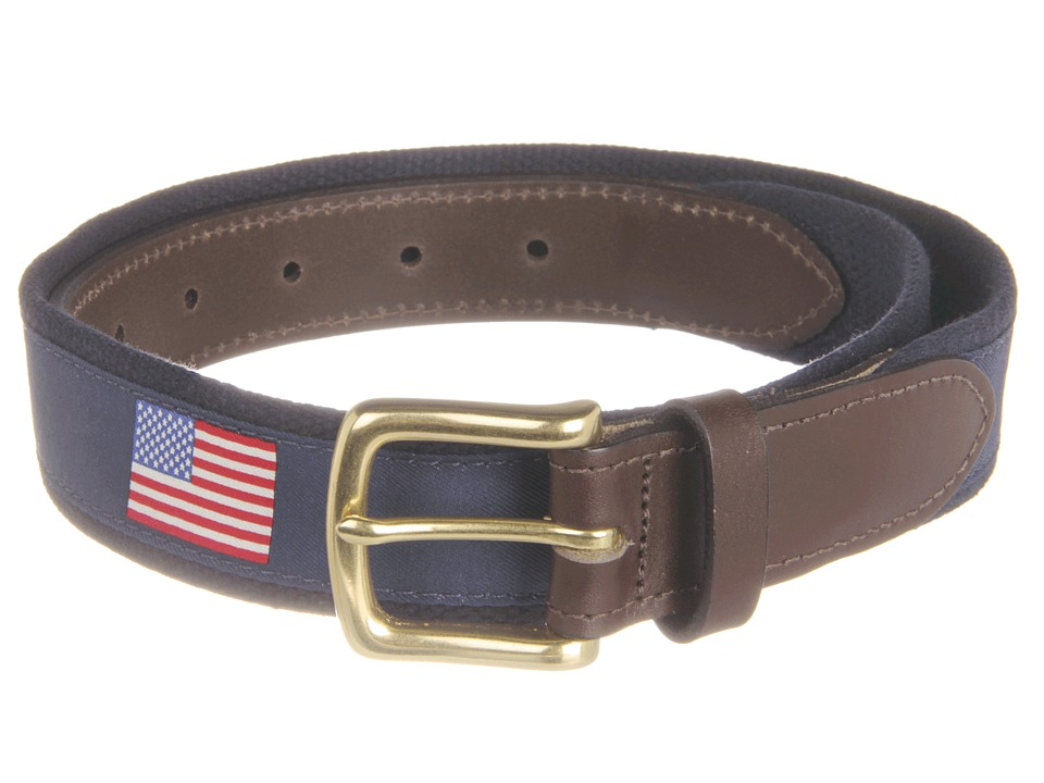 Vineyard Vines American Flags Canvas Club Belt Navy Mens Belts