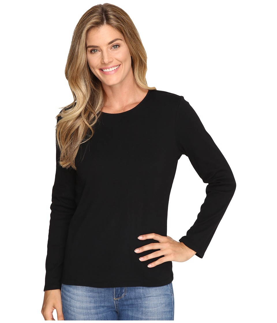 Pendleton - L/S Jewel Neck Cotton Rib Tee (Black) Womens Long Sleeve Pullover