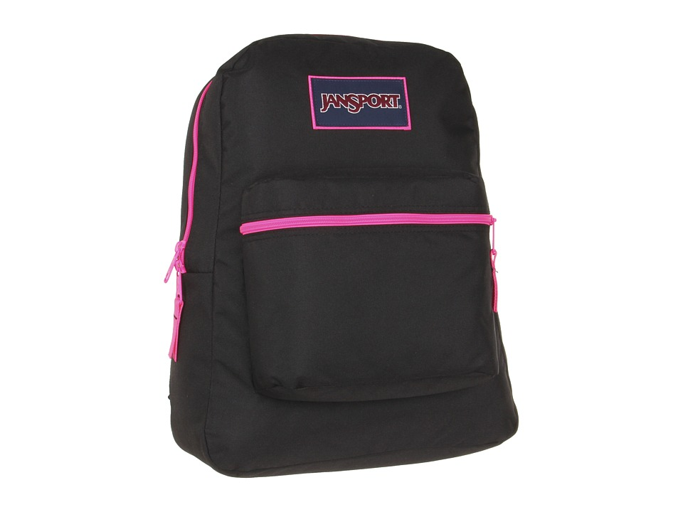 JanSport Overexposed Black/Fluorescent Pink Backpack Bags