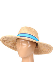 Hat Attack - Raffia Braid Continental Fedora W/Stripe Ribbon Trim