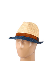 Hat Attack - Raffia Braid Bi-Color Fedora W/Leather Band Trim