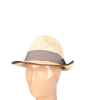 Hat Attack - Fine Straw Fedora W/Chocolate Ribbon Bound Edge & Stripe