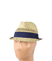 Hat Attack - Seagrass Open Weave Fedora W/Navy Ribbon Trim