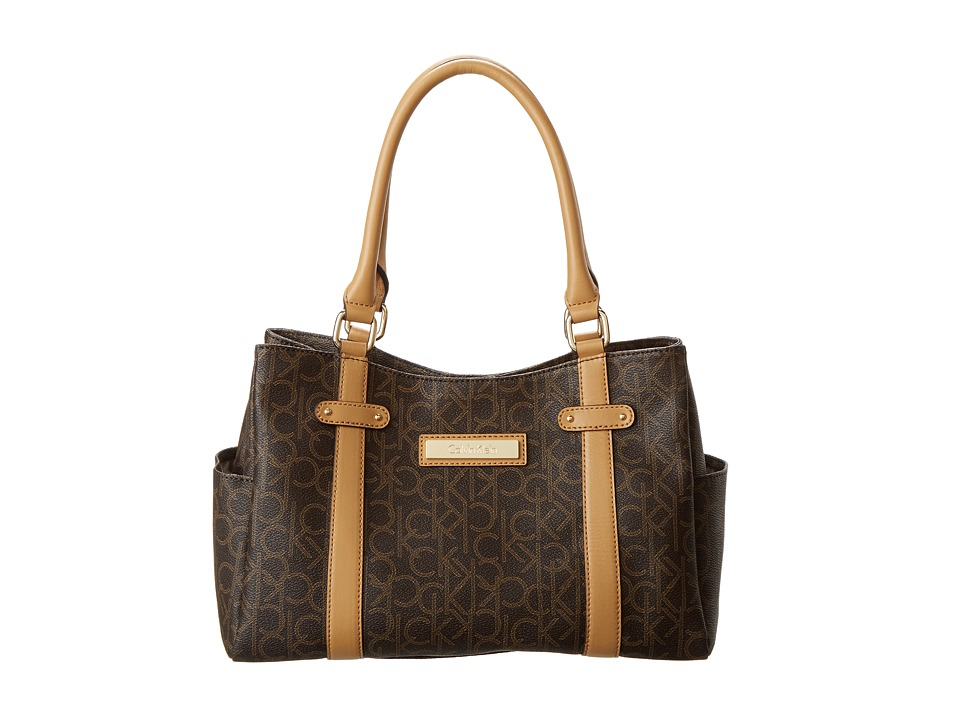 Calvin Klein - Hudson H2ADJ592 (Brown/Khaki/Camel) Satchel Handbags