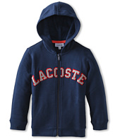 Lacoste Kids - Full Zip Hooded Sweatshirt With Terry Cloth Logo (Little Kids/Big Kids)