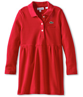 Lacoste Kids - Girl's L/S Pique Polo Dress With Ruffle (Toddler/Little Kids/Big Kids)