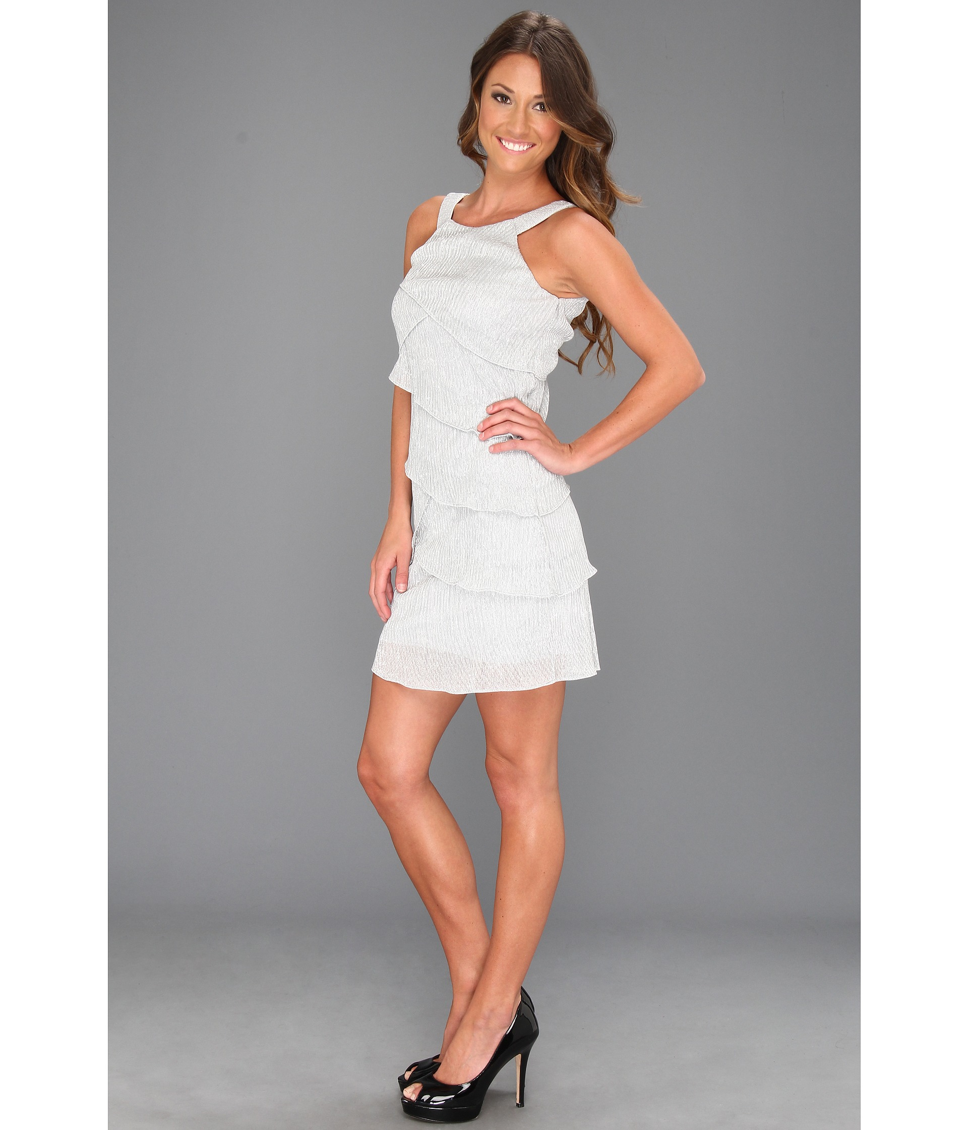 Laundry by Shelli Segal Sleeveless Tiered Dress Silver