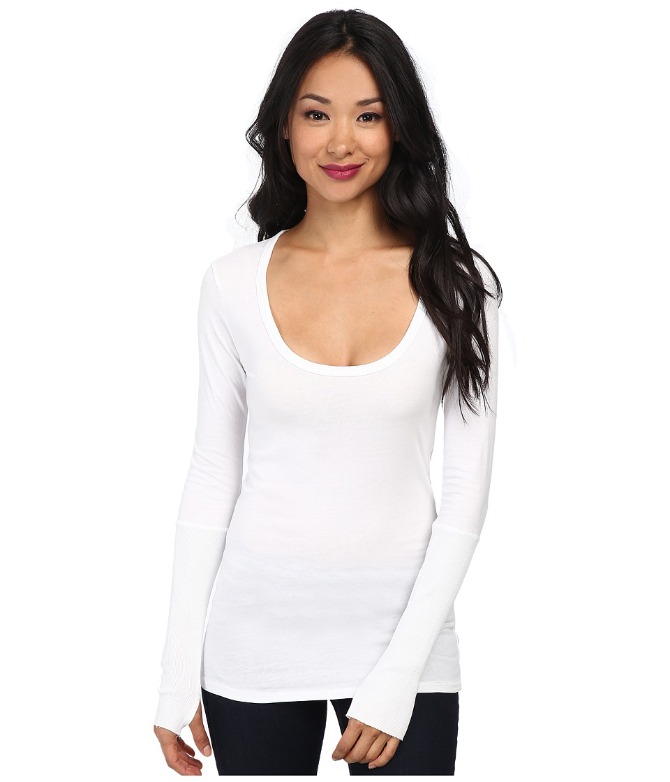 Alternative Rib Sleeve Scoop Neck Tee White Womens Long Sleeve Pullover