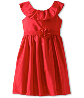 Us Angels - Pleat Collar Silky Taffeta Tank Dress W/ Ribbon Belt (Toddler)