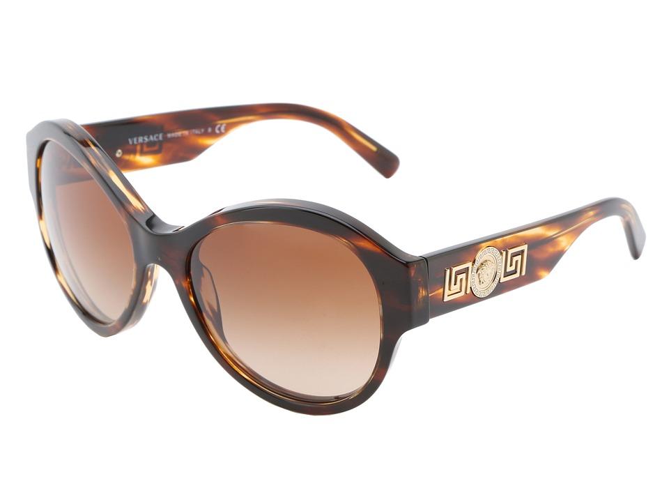 Versace VE4254 Striped Havana/Brown Gradient Fashion Sunglasses
