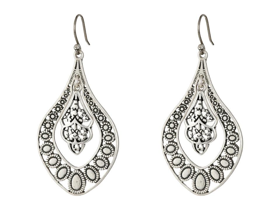 Lucky Brand - Sahara Dust Filigree Oblong Earring (Silver) Earring