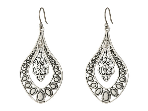 Lucky Brand Sahara Dust Filligree Oblong Earring - Silver
