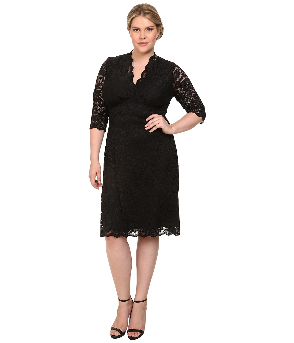 Kiyonna - Scalloped Boudoir Lace Dress (Black Lace/Black Lining) Womens Dress