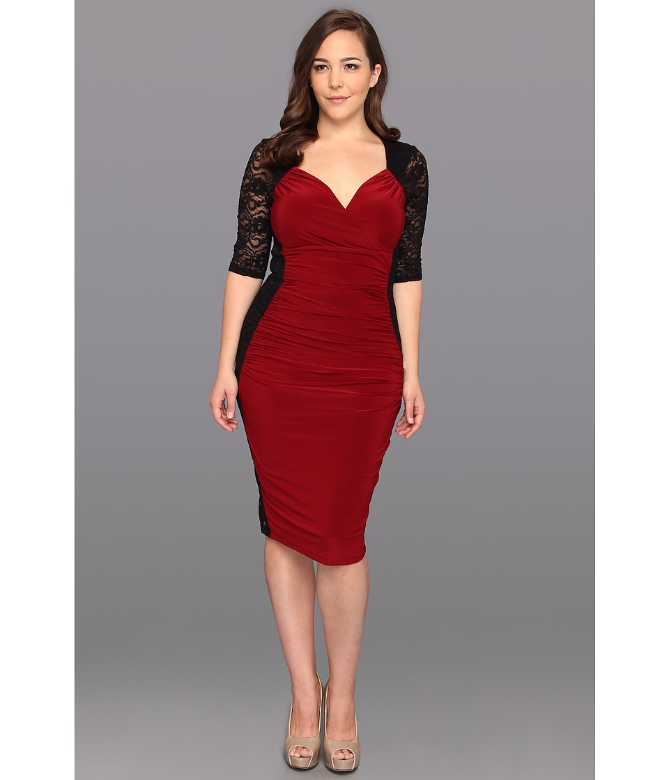 Kiyonna - Valentina Illusion Dress Burgundy Womens Dress $118.00 AT vintagedancer.com