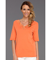 Jones New York - Elbow V-Neck w/ Lace Sleeve Solid