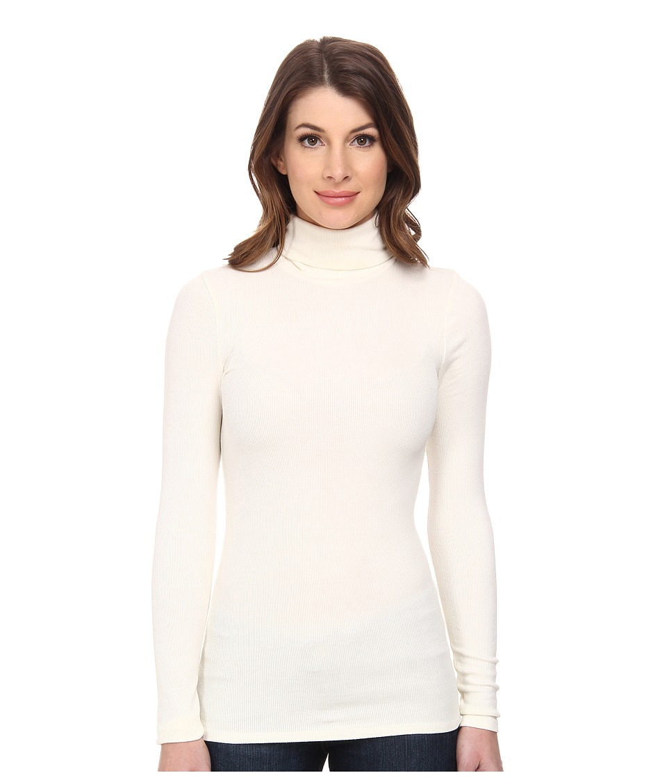 Three Dots - 2x1 Viscose L/S Turtleneck (Creme Fraiche) Women