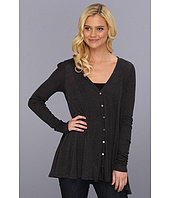Three Dots - Sheer Jersey w/ Silk Chiffon L/S Seamed Cardy