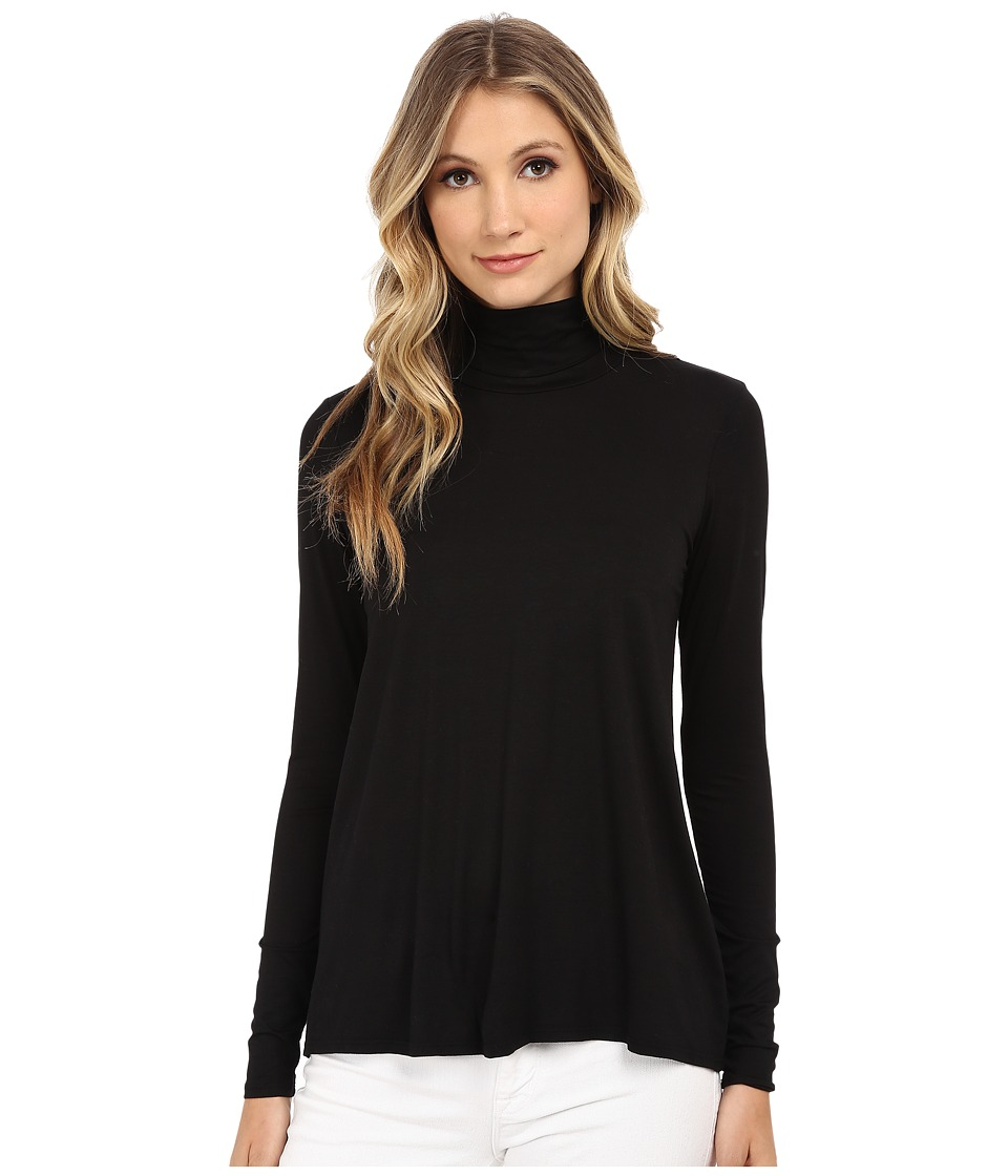Three Dots - L/S Relaxed High Low Turtleneck (Black) Womens Long Sleeve Pullover