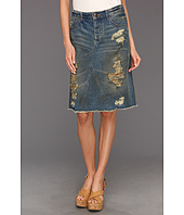 Free People - Super Destroyed Denim Skirt in Garage Wash