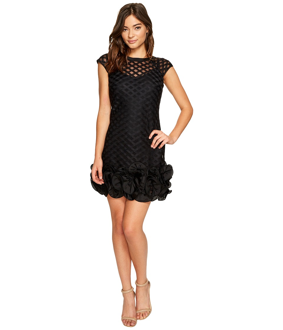 Jessica Simpson - S/S Lace Dress w/ Ruffle Hem (Black) Womens Dress