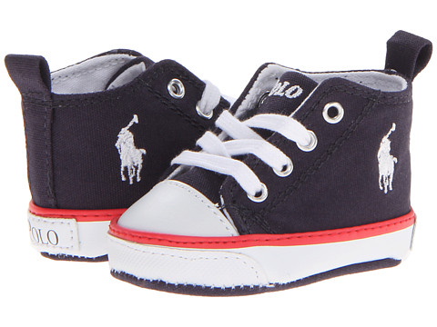 Polo Ralph Lauren Kids Harbour Hi (Infant/Toddler) - Navy Canvas/Red