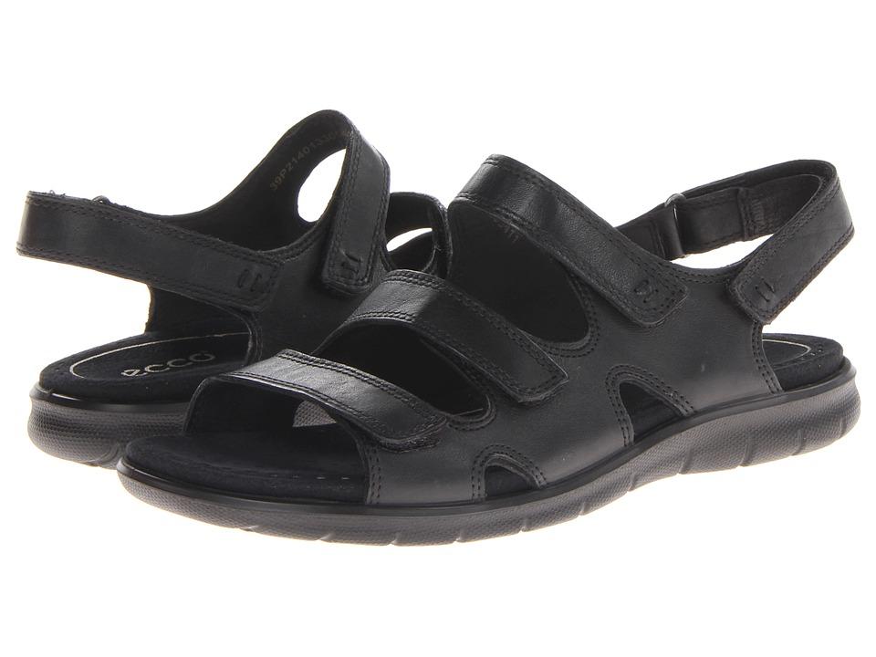 ECCO Babette Sandal 3 Strap Black Feather Womens Shoes