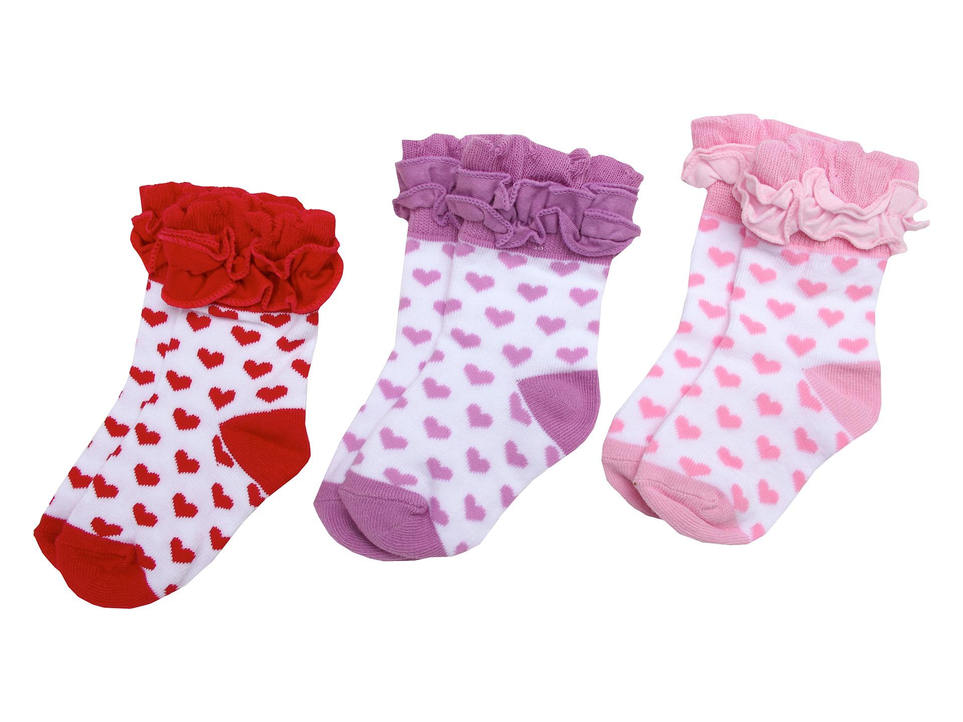 Jefferies Socks Ruffle Hearts Triple Treat (Infant/Toddler ... Ruffled Socks