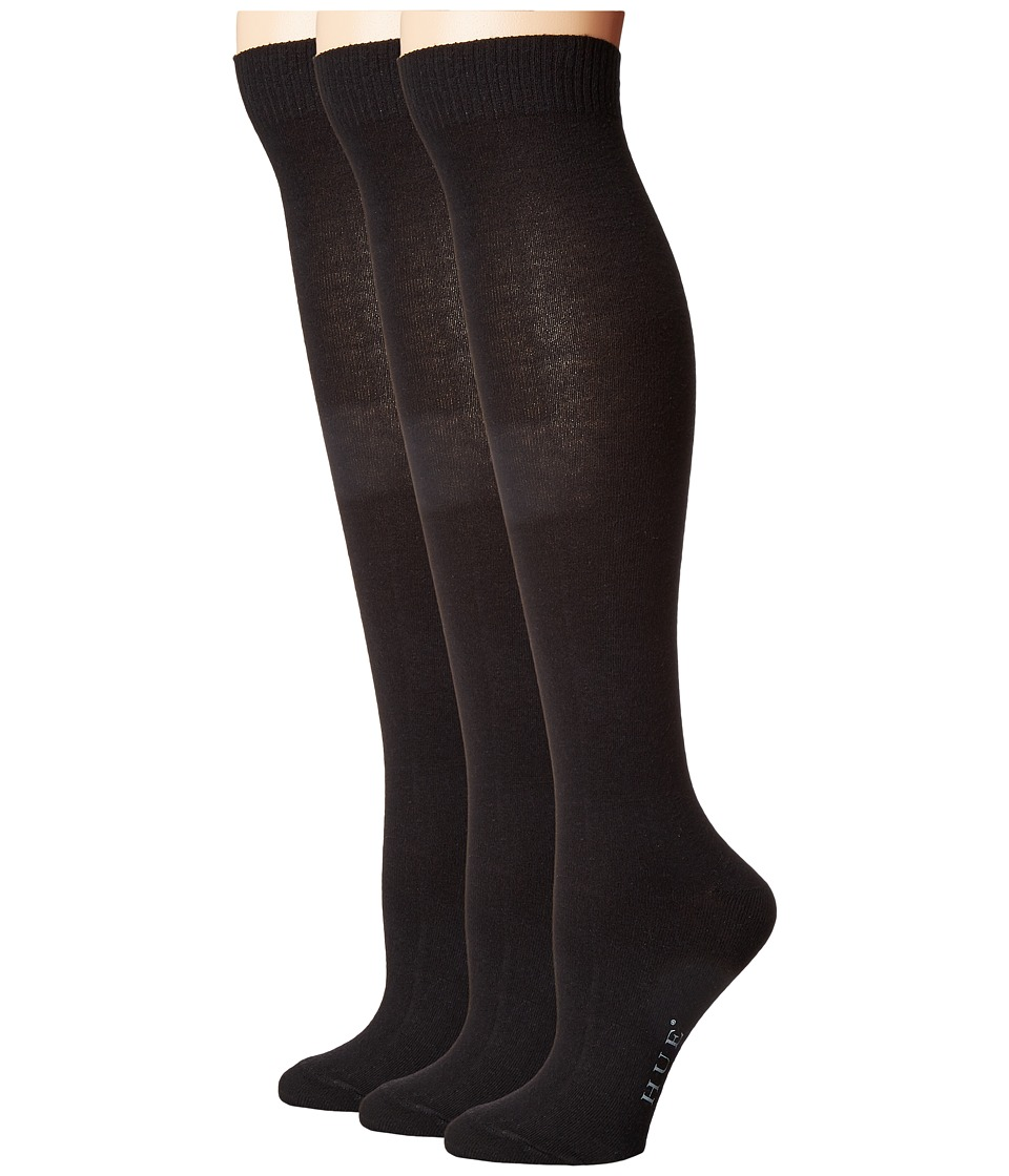 HUE - Flat Knit Knee Socks 3-Pack (Black) Womens Crew Cut Socks Shoes