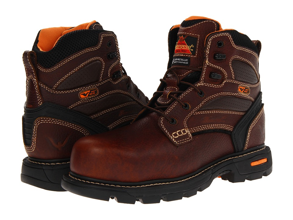 Thorogood - 6 Plain Safety Toe (Brown Tumbled) Mens Work Boots