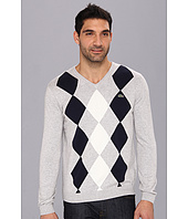 Lacoste - Cotton Jersey Diamond Pattern V-Neck Sweater