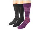 Cole Haan - Gradient Stripe/Flat/Double Pip Crew 3 Pack (Purple Reign) - Footwear