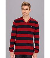 Lacoste - Cotton Jersey Bar Stripe V-Neck Sweater