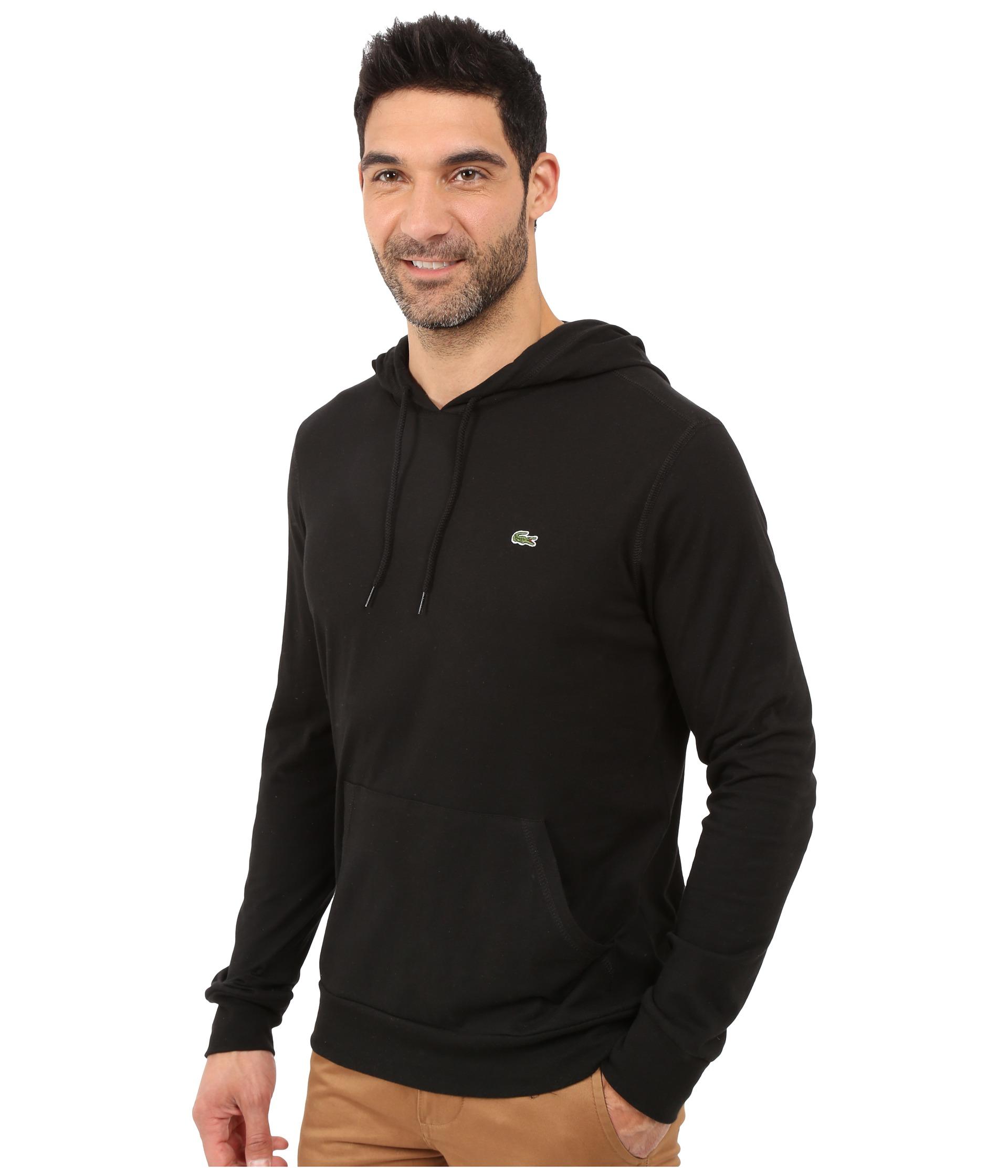 Black t shirt hoodie - Lacoste Jersey T Shirt Hoodie