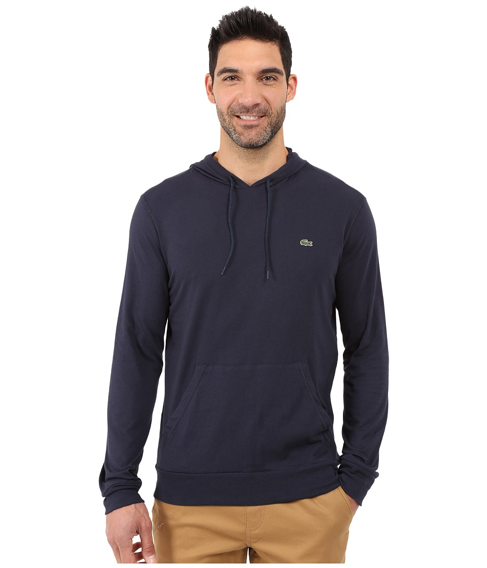 Lacoste Long Sleeve Jersey Hoodie Tee (Navy/Blue) Men