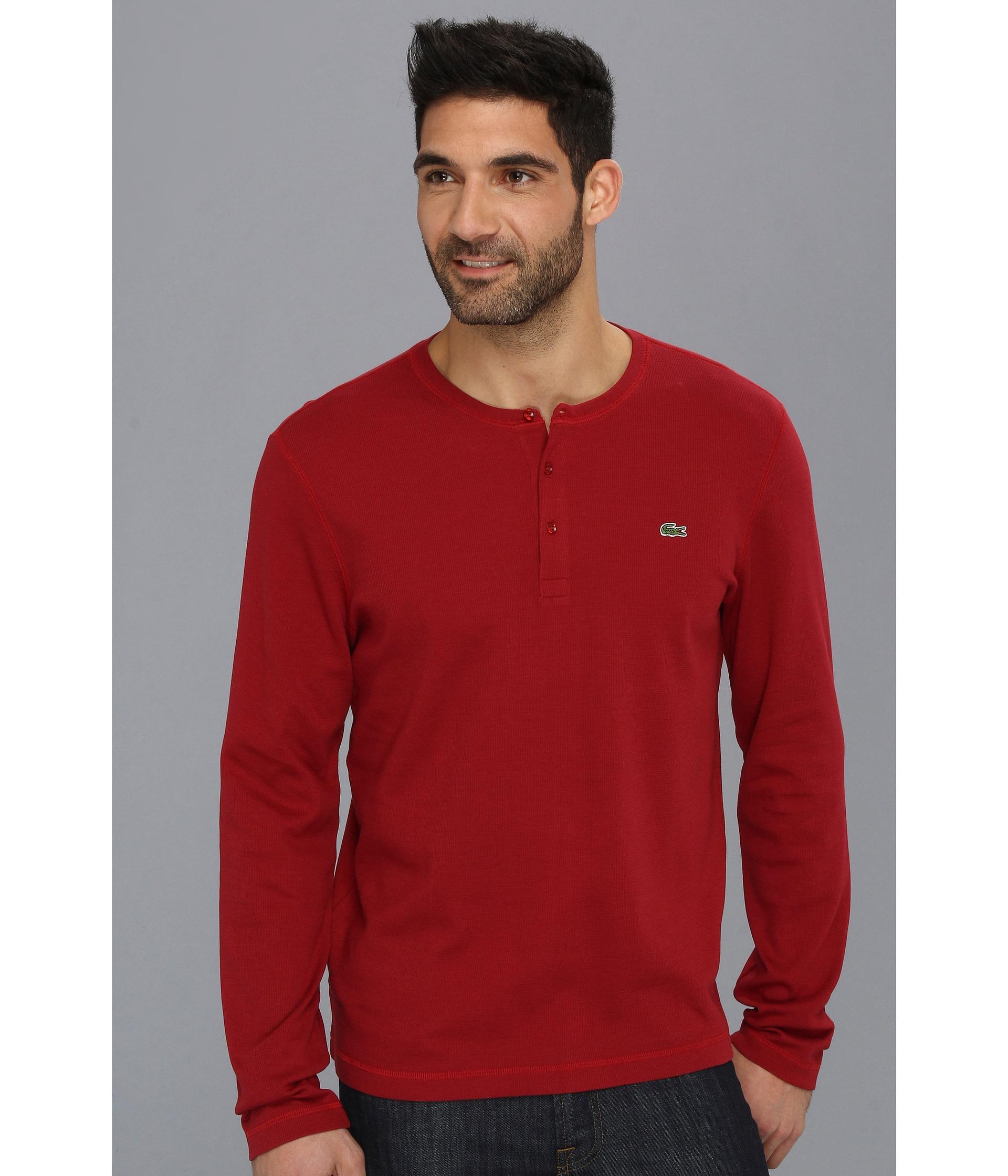 Lacoste long sleeve waffle henley t shirt autumnal red for Henley t shirt long sleeve