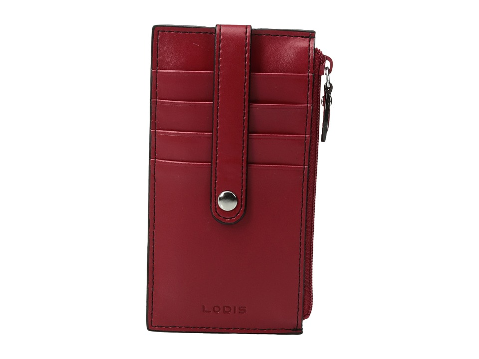 Lodis Accessories Audrey 5 Credit Card Case w/Zipper Pocket Red Credit card Wallet