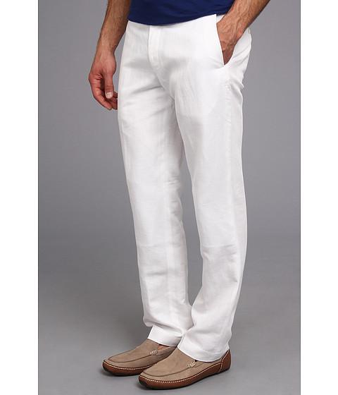 Perry Ellis - Linen Cotton Herringbone Suit Pant (Bright White) - Apparel