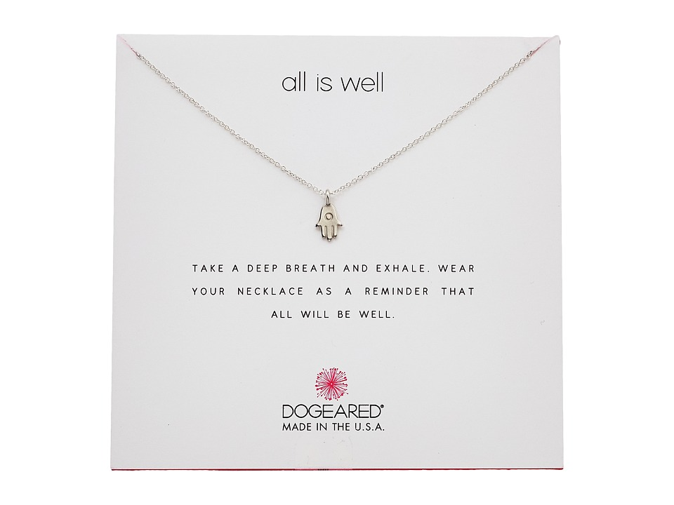 Dogeared - All is Well Hamsa Reminder Necklace (Sterling Silver) Necklace