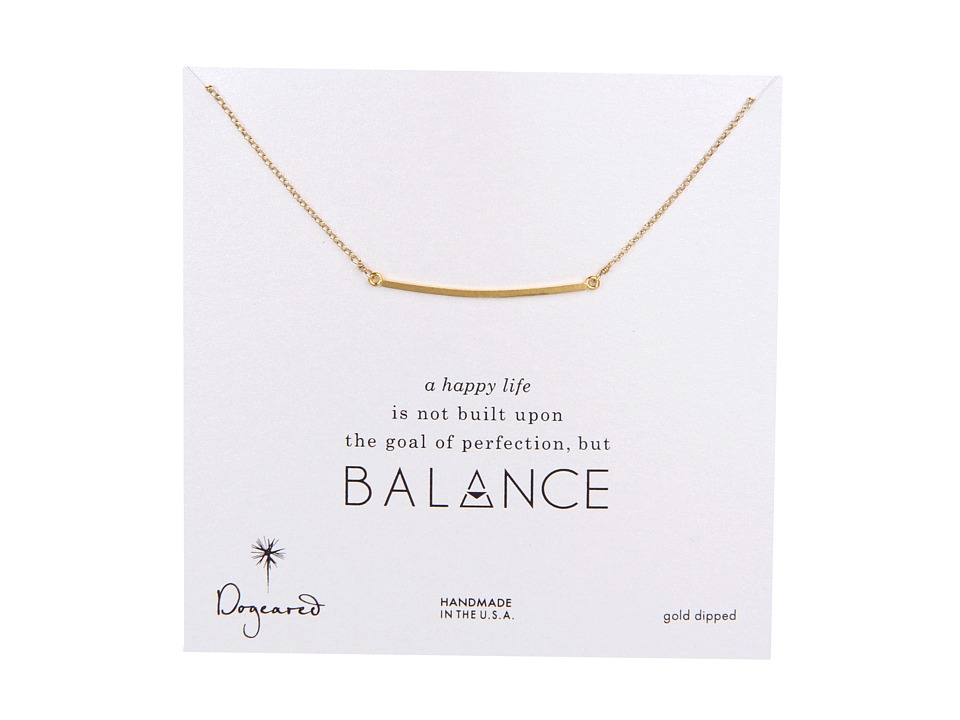 Dogeared Balance Large Square Bar Necklace Gold Necklace