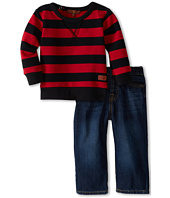 7 For All Mankind Kids - Boys' Dark Indigo Jean with Stripe Top (Infant)