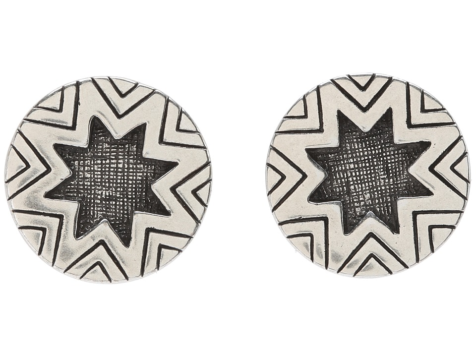 House of Harlow 1960 - Two-Tone Engraved Sunburst Stud (Silver) Earring