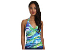 LAUREN Ralph Lauren - Rainbow Print Twist Shirred Halterkini Top (Indigo Multi)