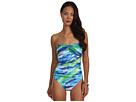 LAUREN Ralph Lauren Rainbow Print Draped Bandeau Mio Swimsuit