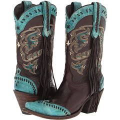 M5022.S53F (Chocolate Calf/Turquoise Carter Wing Tip) Cowboy Boots