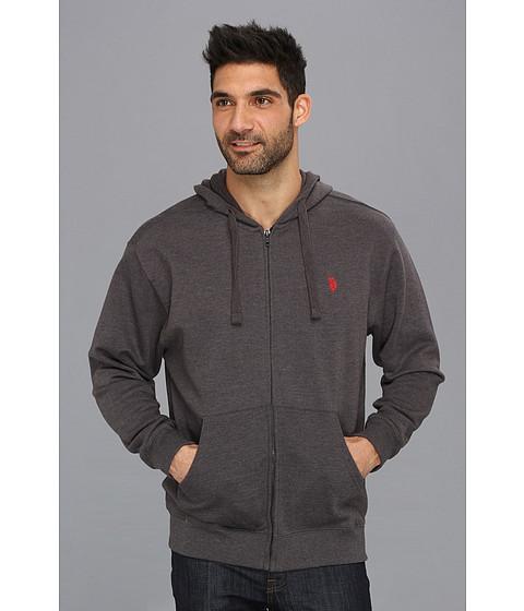 U.S. POLO ASSN. Full Zip Long Sleeve Hoodie with Small Pony Dark Grey