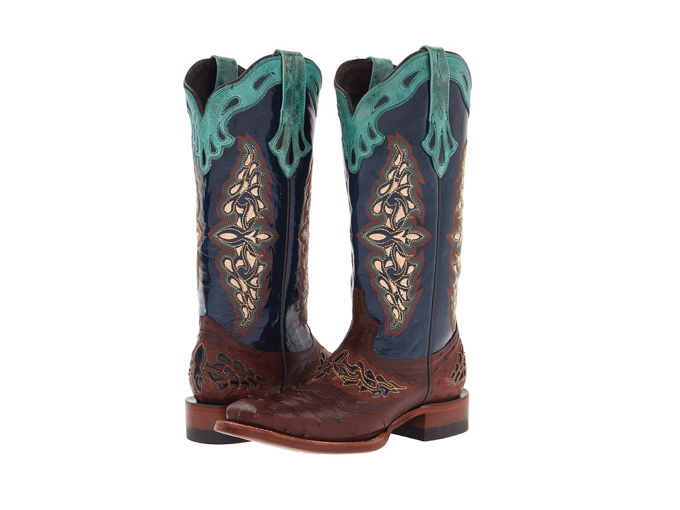 Lucchese - M5802.TWF (Sienna Full Quill Ostrich/Navy Spyker Calf) Cowboy Boots