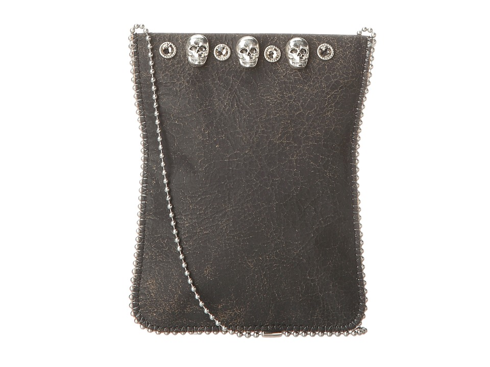Leatherock - Cell Pouch/Crossbody (Flake Black/Grey/Skulls) Bags