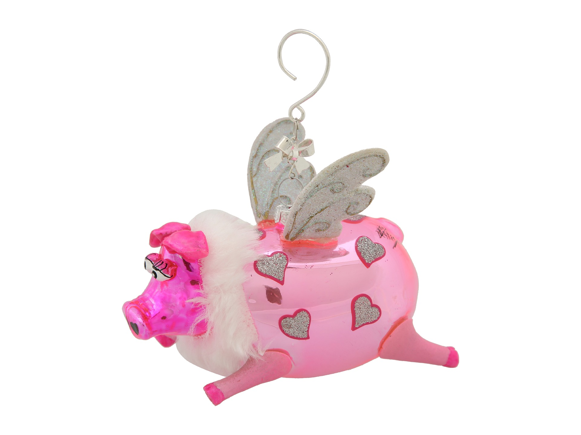 Betsey Johnson Hot Pink Flying Pig Ornament