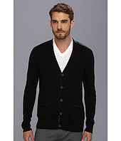 John Varvatos Collection - Leather Shoulder Mixed Rib Cardigan